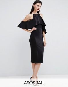 Платье миди с открытыми плечами и высоким воротом ASOS TALL - Черный