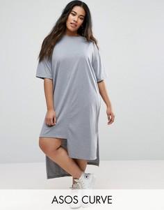 Платье-футболка с разрезами ASOS CURVE - Серый