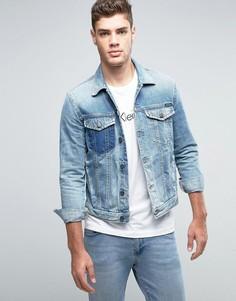 Потертая джинсовая куртка Calvin Klein Jeans - Синий
