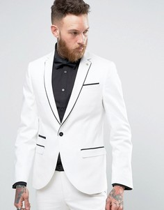 Супероблегающий пиджак с кантом Noose & Monkey - Белый