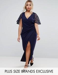 Платье макси с запахом и кружевными рукавами Little Mistress Plus - Темно-синий