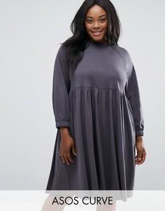 Хлопковое свободное платье с эластичными манжетами ASOS CURVE - Серый