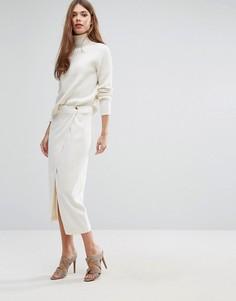 Белая строгая юбка миди с драпировкой спереди Ganni - Белый