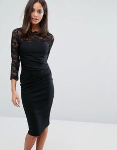 Платье миди с кружевом и рукавами 3/4 City Goddess - Черный