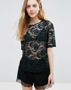 Прозрачная кружевная блузка Ganni Flynn - Зеленый