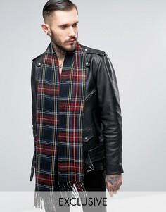 Черный шарф с принтом тартан Reclaimed Vintage - Черный