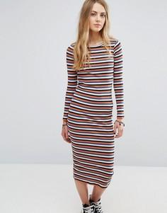 Платье миди в рубчик и полоску Only - Мульти