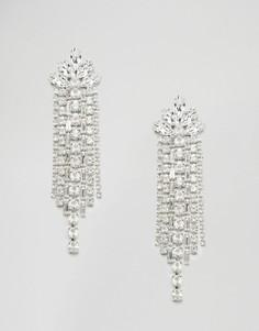 Каскадные серьги с кристаллами Swarowski ручной работы Love Rocks - Серебряный