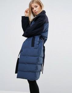 Приталенное стеганое пальто узкого кроя Ganni - Темно-синий