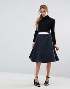 Трикотажная юбка-трапеция в спортивном стиле Ganni Boyle - Темно-синий