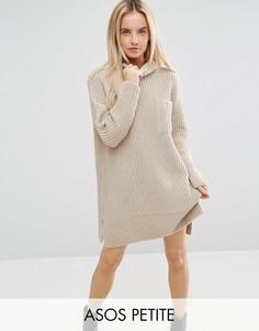 Свободное вязаное платье в рубчик с карманом ASOS PETITE - Бежевый