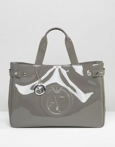 Серо-коричневая лакированная сумка-тоут Armani Jeans - Бежевый
