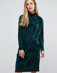 Асимметричное драпированное платье Ganni Doherty - Зеленый