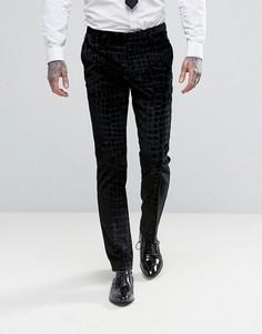 Бархатные суперузкие брюки с эффектом крокодиловой кожи Noose & Monkey - Черный