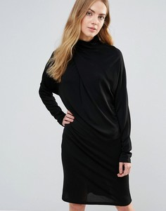 Асимметричное драпированное платье Ganni Doherty - Черный