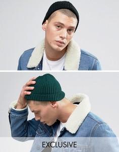 2 шапки-бини (черная/зеленая) Reclaimed Vintage - Мульти
