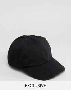 Черная бейсболка с потертостями Reclaimed Vintage - Черный