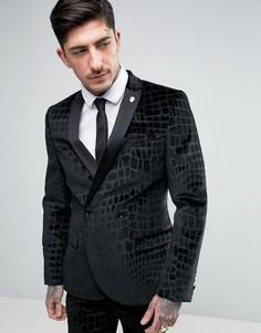 Бархатный приталенный пиджак с эффектом крокодиловой кожи Noose & Monkey - Черный