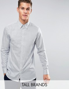 Рубашка узкого кроя с геометрическим принтом Ted Baker TALL - Белый