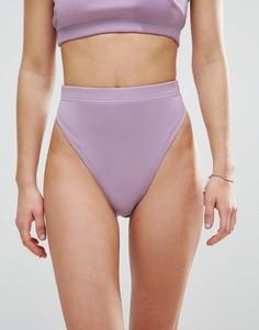 Комбинируемые плавки бикини в рубчик с завышенной талией ASOS - Фиолетовый