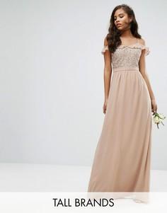 Платье макси с рюшами и пайетками Maya Tall - Розовый