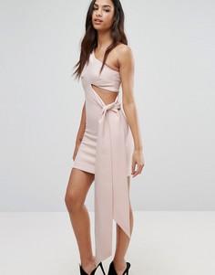 Асимметричное платье мини на одно плечо с драпировкой AQ/AQ - Черный