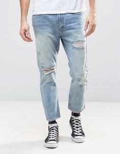 Песочные укороченные джинсы слим с рваной отделкой Rollas Stubs - Синий