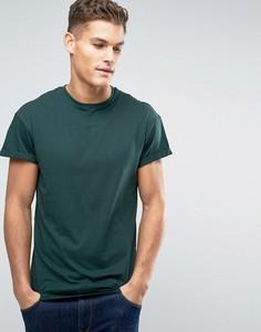 Темно-зеленая футболка с отворотами на рукавах New Look - Зеленый