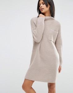 Свободное трикотажное платье в рубчик ASOS - Бежевый