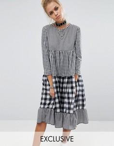 Ярусное платье в клеточку Milk It Vintage - Черный