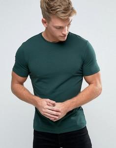 Темно-зеленая обтягивающая футболка New Look - Зеленый