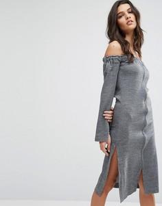 Платье с открытыми плечами и молнией спереди House Of Sunny - Серый