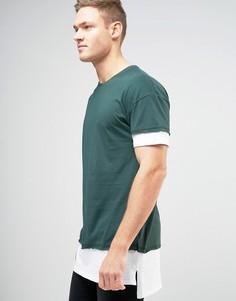 Темно-зеленая футболка с многослойным эффектом New Look - Зеленый