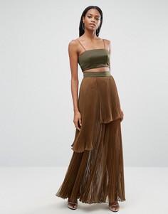Платье макси 2 в 1 с плиссированной юбкой AQ/AQ - Зеленый