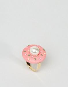 Кольцо ограниченной серии с отделкой в виде пончика и искусственным жемчугом - Розовый Asos