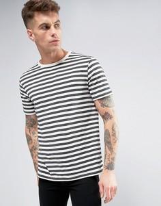 Темно-серая футболка в полоску Brooklyn Supply Co - Серый
