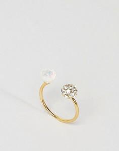 Незамкнутое кольцо ограниченной серии с двумя камнями - Золотой Asos