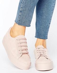 Замшевые кроссовки на платформе ASOS DAY TRIP - Бежевый