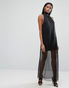 Платье макси с полупрозрачной юбкой AQ/AQ - Черный