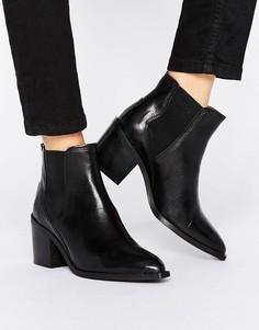 Кожаные ботинки на каблуке Selected Femme Elena - Черный