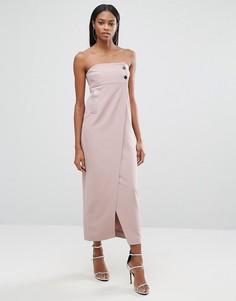 Платье миди с пуговицами и разрезом спереди AQ/AQ - Розовый