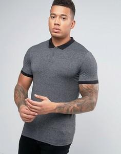 Серая обтягивающая футболка-поло New Look - Серый