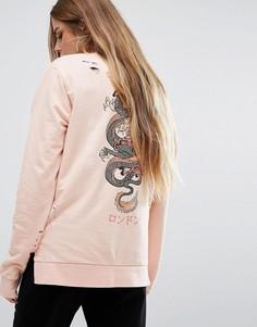 Свободный лонгслив с принтом дракона на спине Criminal Damage - Розовый