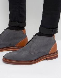 Замшевые ботинки на шнуровке Ted Baker Azzlan - Серый
