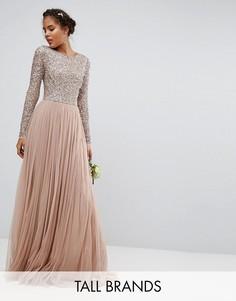 Платье макси из тюля с длинными рукавами и пайетками Maya Tall - Розовый
