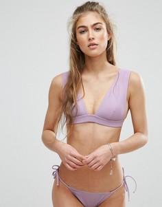 Комбинируемый бикини-топ с широкой лентой под грудью и глубоким вырезом ASOS - Фиолетовый