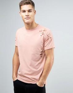 Светло-розовая меланжевая футболка с рваной отделкой New Look - Розовый