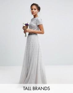 Комбинируемая юбка макси с тюлем и пайетками Maya Tall - Серый