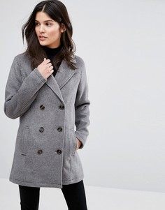 Приталенное двубортное пальто Blend She Momo Ja - Серый