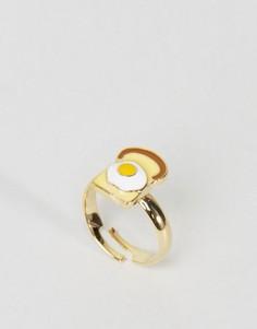 Кольцо ограниченной серии с яйцом и тостом - Золотой Asos